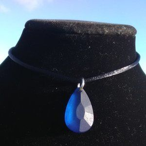 Carved Dark Blue Sea Glass Necklace